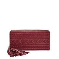 Fossil Sl7240609 Emma Rfid Large Zip Clutch Red