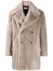 Paura Double Breasted Fur Coat 60
