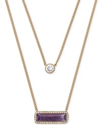 Michael Kors Gold Tone Purple Stone And Crystal Layer Necklace