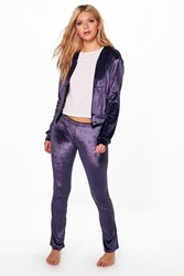 Boohoo Velour Hoodie Zip Through Tracksuit Purple
