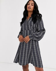 Y.A.S Printed Mini Dress With Volume Sleeve Multi