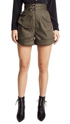 Self Portrait Twill Shorts Khaki