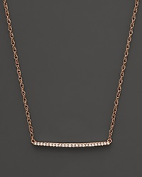 Bloomingdale's Diamond Mini Bar Necklace In 14K Rose Gold .10 Ct. .T.W. Rose Gold White Diamonds