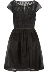 Temperley London Maxime Embroidered Silk Organza Dress Black