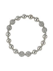 Mikey Twin Crystal Ball And Metal Bead Barcelet White