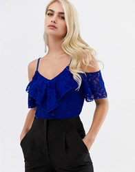 Girl In Mind Lace Ruffle Bodysuit Blue
