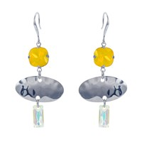 Nadia Minkoff Oval Textured Earring Yellow Silver Yellow Orange Silver