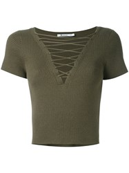 Alexander Wang T By Lace Up Ribbed Top Women Cotton Cashmere L Green