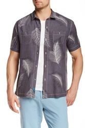 Tommy Bahama Feathered Fronds Short Sleeve Modern Fit Silk Regular Fit Shirt Gray