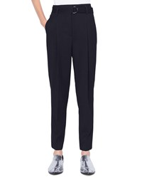 Akris Punto Fred Belted Cropped Wool Tricot Pants Black