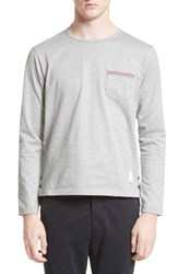 Thom Browne Men's Button Vent Jersey Pocket T Shirt