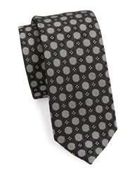 Pure High Contrast Dotted Silk Tie Black