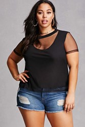 Forever 21 Plus Size Mesh Overlay Tee