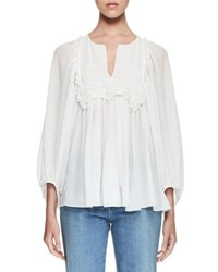 Chloe Embroidered Seersucker Split Neck Blouse Milk 00A Milk