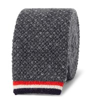 Thom Browne Knitted Cashmere Tie Gray
