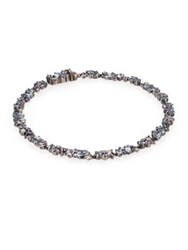 Alexis Bittar Fine Cool Heather Marquis Grey Diamond White Sapphire Blue Topaz And Sterling Silver Tennis Bracelet Blue Multi