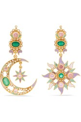 Percossi Papi Gold Plated And Enamel Multi Stone Earrings One Size
