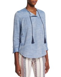 Derek Lam 3 4 Sleeve Shirt With Ties Pale Chambray