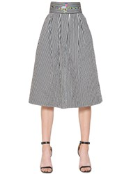 Copurs Embroidered Striped Cotton Poplin Skirt