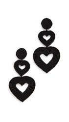 Baublebar Double Hearts Statement Drops Black Gold