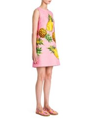 Dolce And Gabbana Brocade Pineapple Print A Line Dress Pink Pineapple