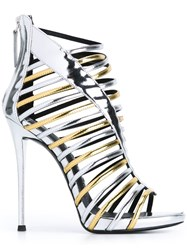 Giuseppe Zanotti Design 'Priscilla' Caged Stiletto Sandals Metallic