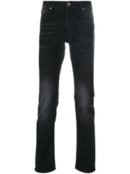 7 For All Mankind Ronny Slim Fit Faded Jeans Cotton Polyester Spandex Elastane Black