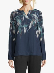 Betty And Co. Leaf Print Blouse Blue Green