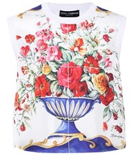 Dolce And Gabbana Printed Sleeveless Silk Top Multicoloured