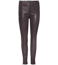 J Brand Leather Trousers Purple