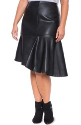 Plus Size Women's Eloquii Asymmetrical Flare Faux Leather Skirt