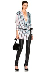 Each X Other Drape Belted Top In Blue Stripes