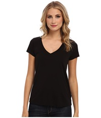 Lamade Short Sleeve Low V Neck Boyfriend Tee Black Women's Short Sleeve Pullover