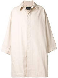 Raf Simons Single Breasted Trench Coat Neutrals