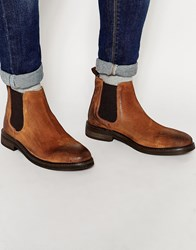 Asos Chelsea Boots In Tan Suede With Chunky Sole