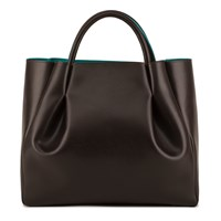 Alexandra De Curtis Maxi Ruched Tote Brown