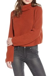 Leith Transfer Stitch Turtleneck Sweater Brown Spice
