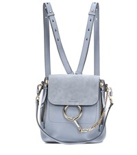 Chloe Faye Leather And Suede Backpack Blue