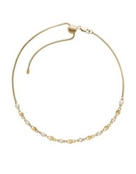 Michael Kors Logo Love Crystal And Stainless Steel Choker Necklace Gold