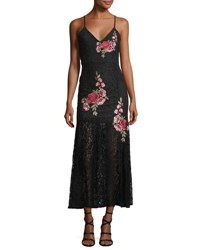 Romeo And Juliet Couture Embroidered Sheer Skirt Maxi Dress Black