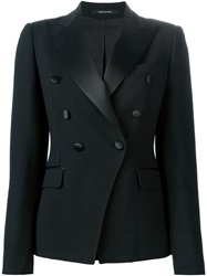 Tagliatore Double Breasted Smoking Blazer Black