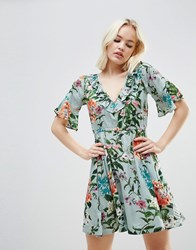 Rock And Religion Floral Frill Dress Lt Green Large Flora