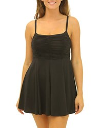 Fit 4 U Figure Magic Solid Shirred Cami Top Swimdress Black