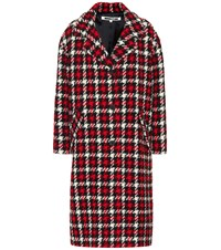 Mcq By Alexander Mcqueen Houndstooth Wool Blend Coat Red