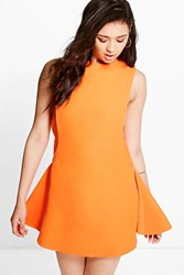 Boohoo Sia Sporty Textured Fit And Flare Dress Orange