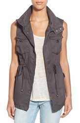 Pleione Women's Cotton Twill Military Vest Dark Grey