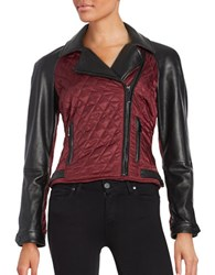Vince Camuto Leather Contrast Sleeve Moto Jacket Brick Black