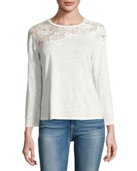 Rebecca Taylor Arella Lace Jersey Long Sleeve Top White