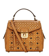 Mcm Small Diamond Visetos Christina Satchel Female Cognac
