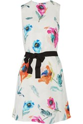 Oscar De La Renta Printed Silk Dress Multi